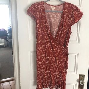 Rustic floral wrap dress